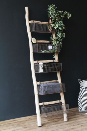 Lifestyle image of the Wooden Ladder With 5 Basket Shelves