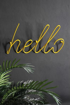 Hello Wall Art / Hanger - Yellow