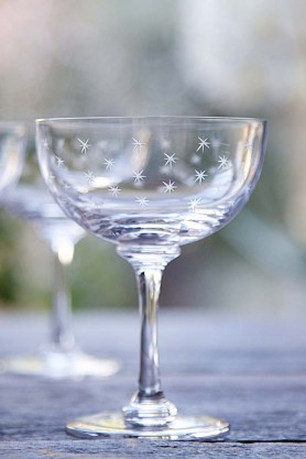 Set Of 6 Vintage Style Crystal Champagne Saucers - Stars