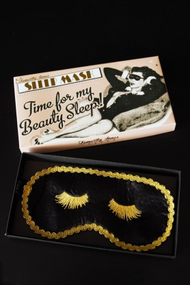 Image of the Black & Gold Boudoir Eye Mask and packaging