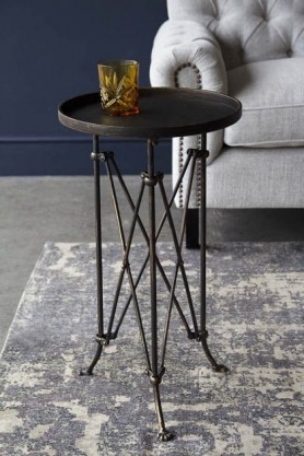 Rustic Iron Round Tray Side Table With Paw Feet