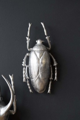 lifestyle image of Silver Plant Beetle Hanging On dark blue Wall with second beetle in corner