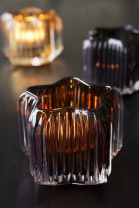 Smoked Glass Star-Shaped Tea Light Holder