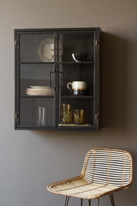 Square Metal Glass Pane Wall Cabinet