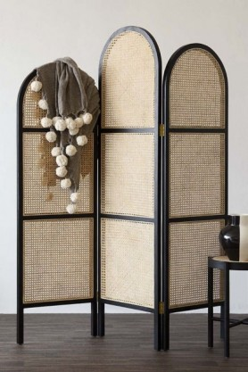 Sungkai Woven Cane Wooden Room Divider/Screen - Black