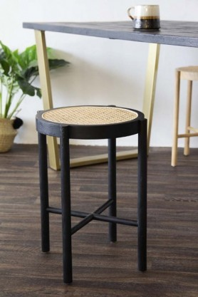 Sungkai Woven Cane Wooden Stool - Black
