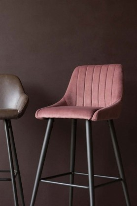 Casino Velvet Bar Stool - Rose Pink