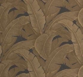 cutout square Image of Teide Tropical Leaves Wallpaper - Darks 03 gold tropical leaves on a dark background