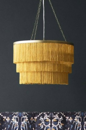 Three-Tier Fringe Chandelier - Gold