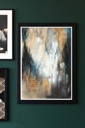 lifestyle image of Unframed Aegirine Art Print with other picture frames in background hung on dark green wall background