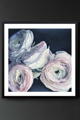 "Lifestyle image of the Unframed Art Print by Amy Carter ""Amour"" pale pink roses on navy background on dark grey wall background"