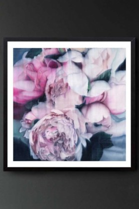 """Lifestyle image of the Unframed Art Print by Amy Carter """"Summer Rain"""" pink roses on navy blue background on dark grey wall background"""