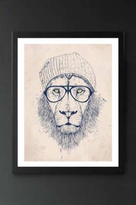 lifestyle image of Unframed Cool Lion Fine Art Print dark blue sketched lion with glasses and beanie in black frame on dark wall background