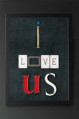 lifestyle image of Unframed I Love Us Art Print in black frame on dark wall background