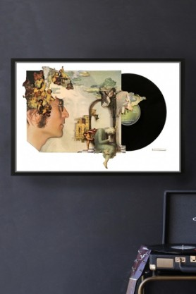 lifestyle image of Unframed Imagine John Lennon Record Cover Collage by Alison Stockmarr in black frame with record player and grey wall background