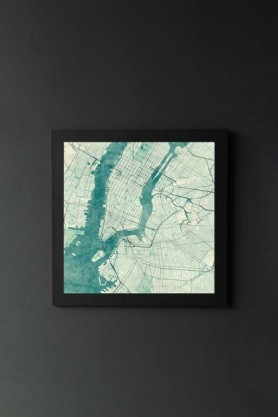 lifestyle image of Unframed New York Map Blue Vintage Art Print in black frame on dark wall background
