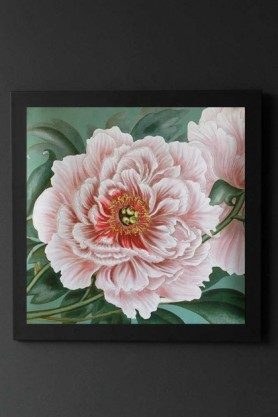 Image of Pretty Pink Wild Rose Art Print Poster framed and hanging on the wall pink rose and green background on dark grey wall