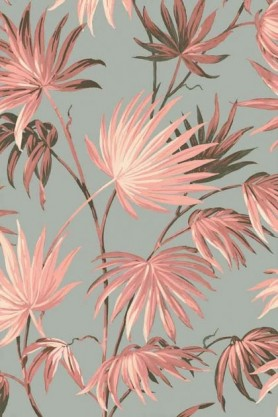 detail image of the Va Va Frome Blush Eau De Nil Wallpaper by Pearl Lowe pink toned tropical leaves on pale blue background