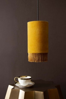 Velvet Pendant Ceiling Light With Fringe - Mustard