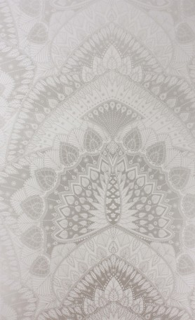 cutout Image of Matthew Williamson Azari Wallpaper - Silver Grey silver and grey mandala pattern
