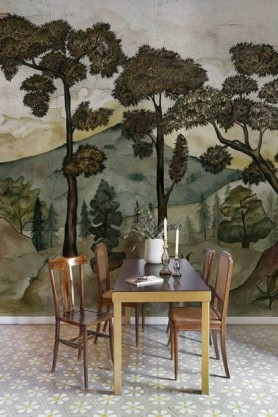 Lifestyle image of the Watercolour Landscape Wallpaper Mural - Taklamakan Aloe with woden dinging table and chairs on white tiled flooring