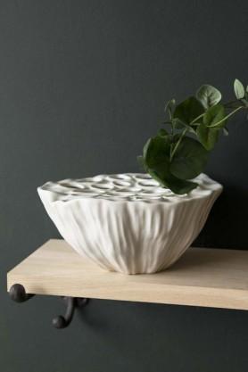 White Ceramic Lotus Flower Seed Head Vase