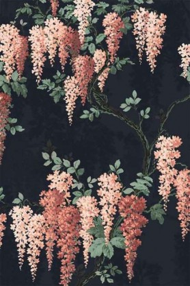 detail image of the Wisteria Midnight Mint Wallpaper by Pearl Lowe nude wisteria flowers with green leaves on brown branches on dark background