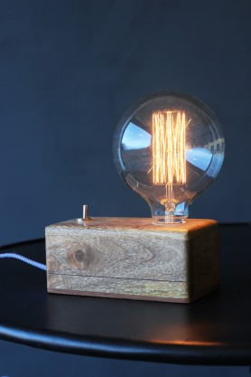 Exposed Bulb Wooden Box Table Lamp