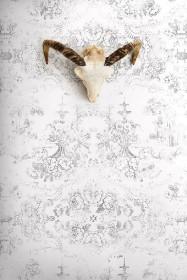 Young & Battaglia Vintage Delf Wallpaper - Almost White