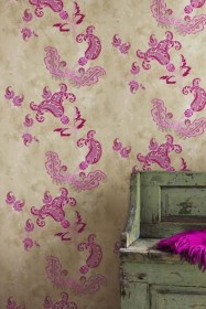 Barneby Gates Paisley Wallpaper - Hot Pink on Tea Stain