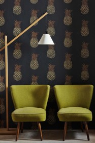 Barneby Gates Pineapple Wallpaper - Charcoal