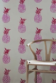 Barneby Gates Pineapple Wallpaper - Pink/Red