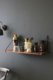 Dark Wood Shelf With Black Iron Hangers
