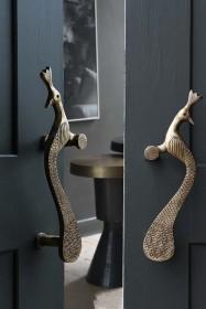 Set Of 2 Elegant Brass Peacock Door Handles