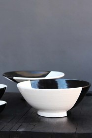 Handmade Moroccan Black & White Fruit Bowl - 28cm