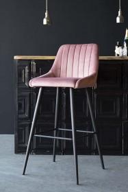 Tall Casino Velvet Bar Chair - Rose Pink