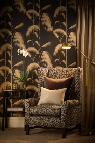 Cole & Son New Contemporary - Palm Leaves Wallpaper - Black & Gold