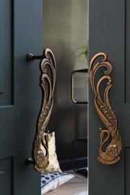 Set Of 2 Art Deco Brass Swan Door Handles