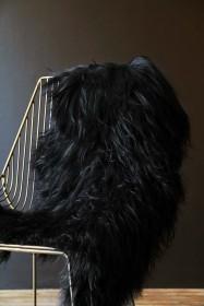 Genuine Icelandic Long Wool Sheepskin - Natural Black