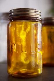 Amber Recycled Glass Storage Jar - Pills