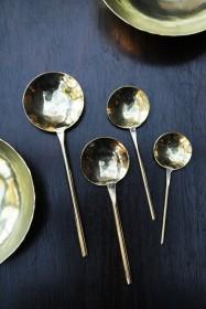 Set Of 4 Handmade Brass Polished Spoons