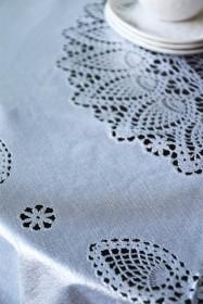Outdoor Vinyl Lace Crochet Tablecloth - Silver