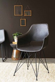 Prentice Faux Leather Dining Chair - Charcoal Grey