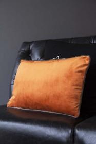 Rectangle Velvet Cushion - Burnt Orange