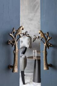 Set Of 2 Beautiful Brass Parrot Door Handles