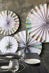 Set Of 4 Hanging Holographic Silver Foil Pinwheel Decorations