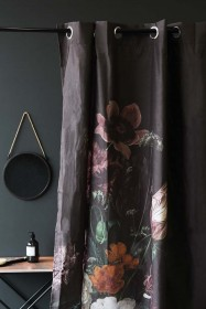 Black Floral Shower Curtain