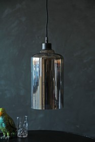 Smoked Glass Pendant Ceiling Light - Cylinder