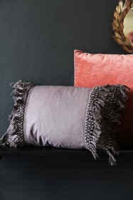 Tassel Cotton Cushion - Slate