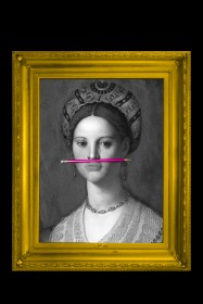 The Pink Pencil Canvas with Printed Frame